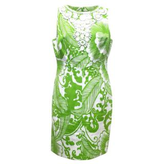 Milly Green And White Pattern Dress