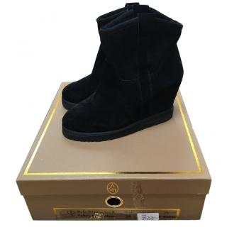 Ash black suede wedge boots