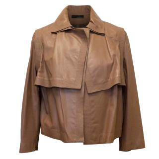 Amanda Wakeley Tan Layered Leather Jacket