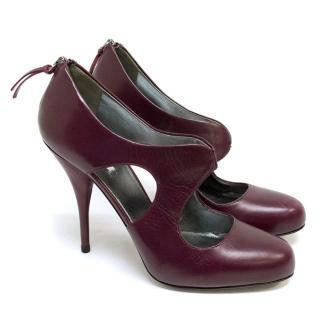 Miu Miu Maroon Cut Out Heeled Shoes