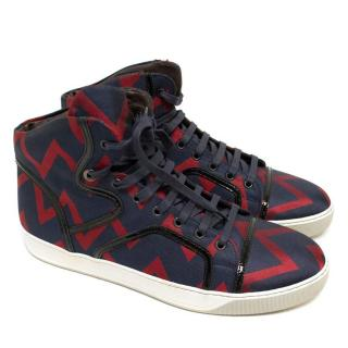 Lanvin Navy And Red Chevron High Top Trainers