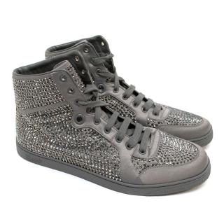 Gucci Grey Diamante Hi-Top Trainers