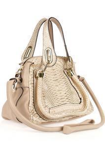 Chloe Cream Python Paraty Bag