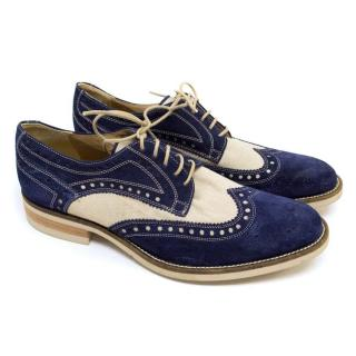 Donald J. Pliner Blue And Cream Brogues