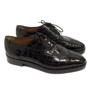Susan Bennis Warren Edwards Black Crocodile Skin Brogues