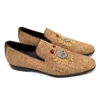 Donald J. Pliner Cork Effect Leather Loafers
