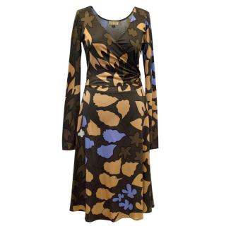 Issa Silk Leaf Print Long Sleeve Wrap Dress
