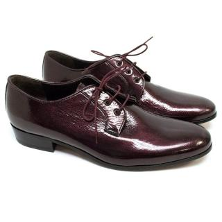 Lanvin Patent Leather Maroon Brogues