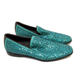 Donald J. Pliner Turquoise Sequined Loafers