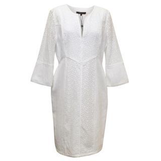 BCBGMAXAZRIA White Lace V-Neck Dress