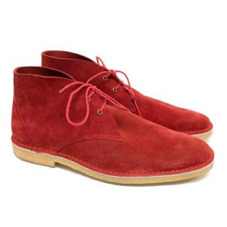 Pierre Hardy Red Suede Desert Boots