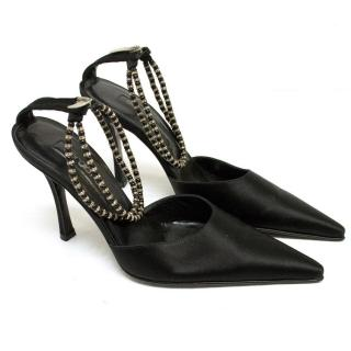 Sergio Rossi Black Satin Pumps With Beaded Straps