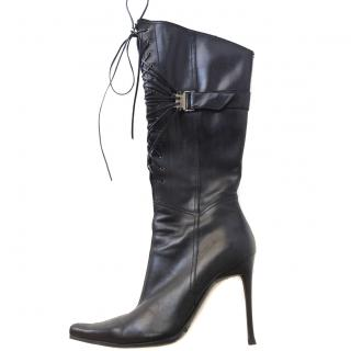 Casadei Black Leather Knee High Stilleto Lace Up Boots