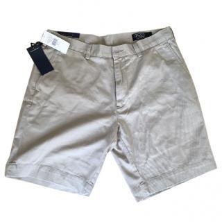 Beige men's Ralph Lauren classic fit shorts