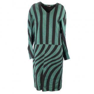 Dries van noten green and black stripy dress