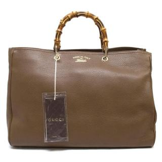 Gucci Brown Leather Bag With Bamboo Handles