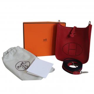 Hermes TPM Mini Evelyne Red with Red and Blue Strap