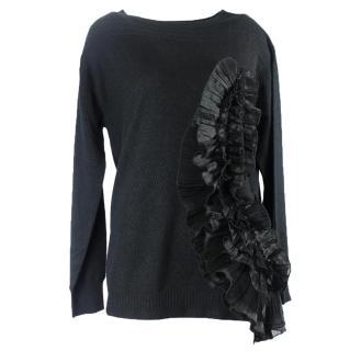 Dries van noten black knit top with frills