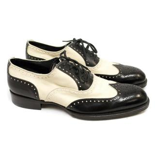 Tom Ford Black and Off White Leather And Suede Brogues