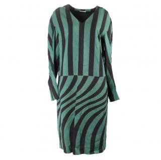 Dries van noten green and black striped dress