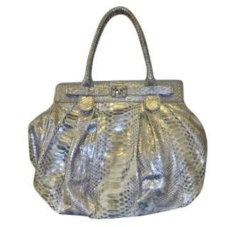 Zagliani snakeskin puffy bag