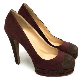 Chanel Burgundy And Brown Round Toe Suede Heels