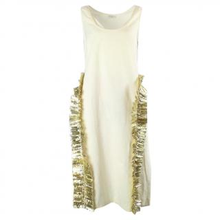 Dries van noten gold ruffle dress