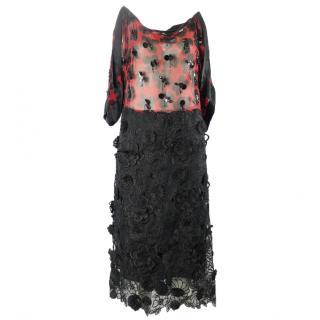 Dries van noten black lace dress