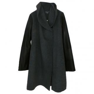 Vince grey wool shawl collar black leather sleeves coat