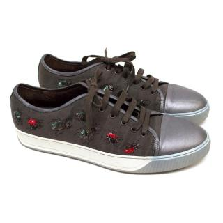 Lanvin Grey Embellished Low Top Trainers