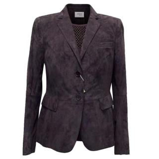Arkis Punto Purple Suede Blazer And Silk Blouse Two Piece