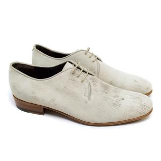 Lanvin Matte Cream Leather Brogues