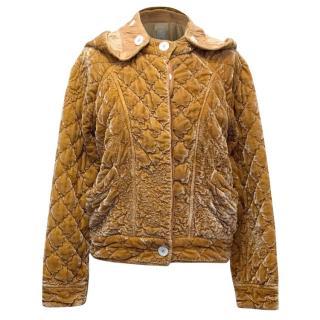 Ghost  Mustard Velvet Hooded Quilted Jacket