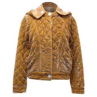 Ghost  Mustard Velvet Hooded Quilted Jacket