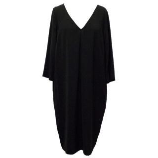 St John Black Shift V-Neck Dress
