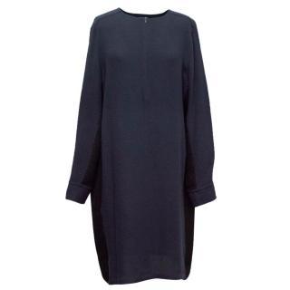 Sportmax Navy and Black Silk Shift Dress