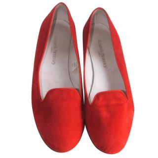 Russell & Bromley soft coral suede flats