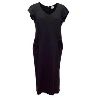 Armani Black Fitted Wool Dress