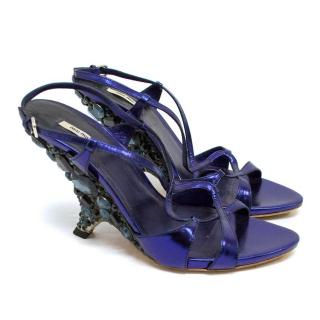 Miu Miu Blue Metallic Embellished Sandals
