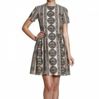 Valentino Short Sleeved Pleated Dress