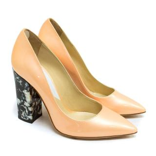 Pollini Nude Patent Leather Heeled Pumps
