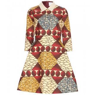 Stella Jean Geometric and nature print flare dress