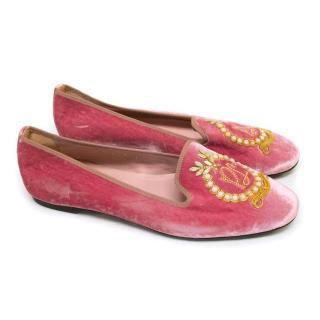 Pretty Loafers Pink Velvet Ballerina Slippers