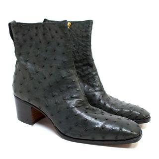 Yves Saint Laurent Men's Ostrich Skin Boots