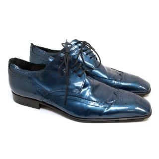 Patrick Cox Patent Metallic Blue Brogues