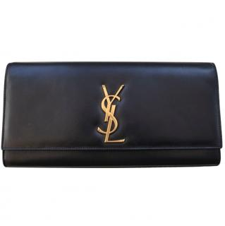 YSL black leather Cassandre clutch