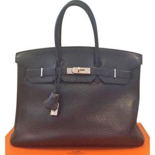 Hermes black Birkin clemency leather 35cm