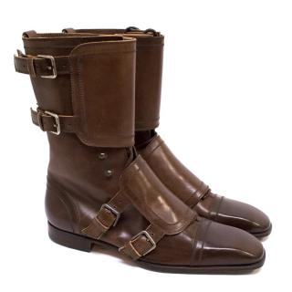 Yves Saint Laurent Brown Leather Boots