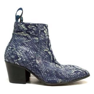 John Fluevog Blue Snake Effect Boots