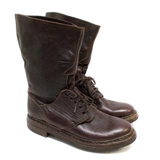 Burberry Brown Lace-Up Boots